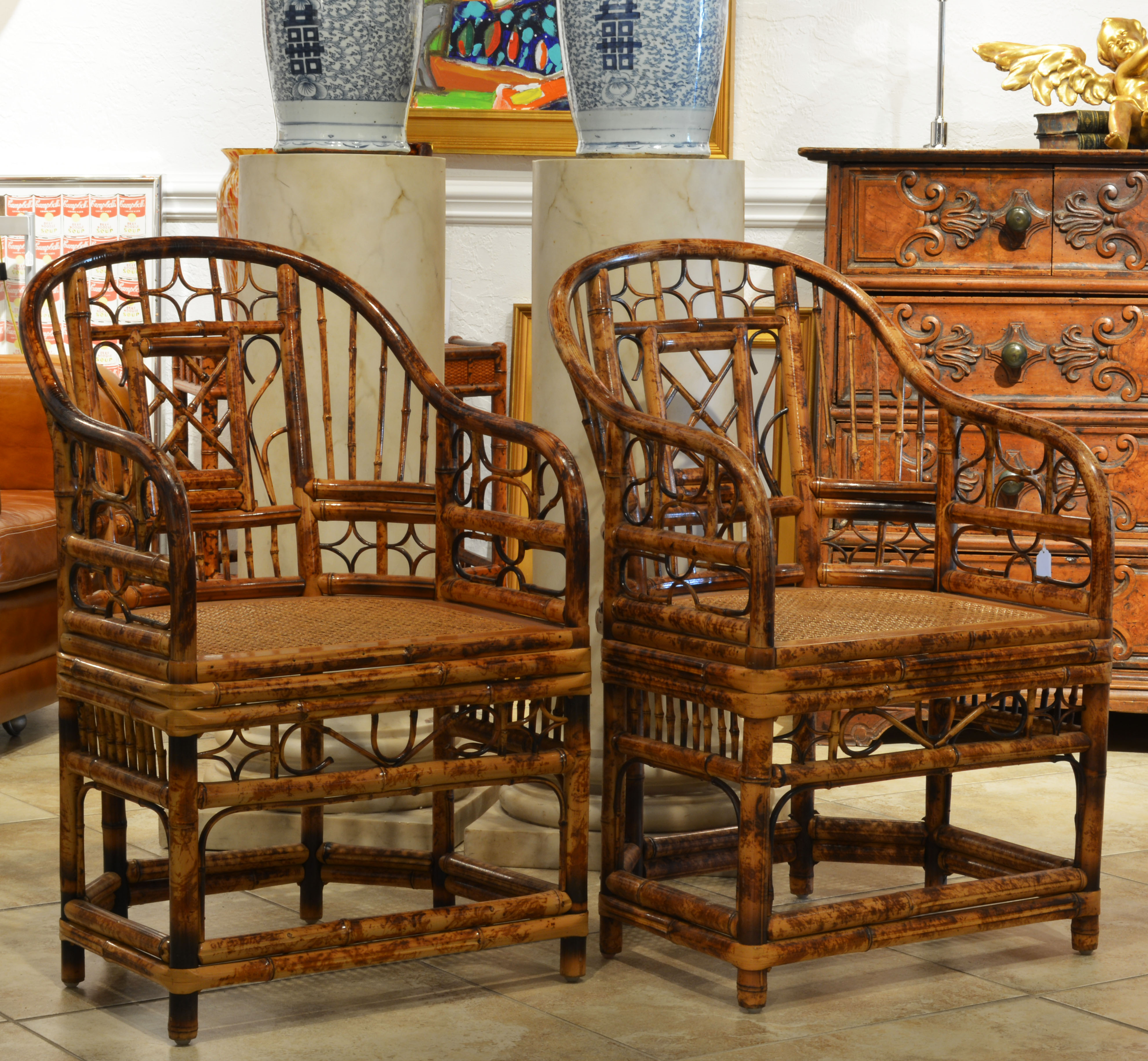 a pair of bamboo chinoiserie chippendale style arm chairs